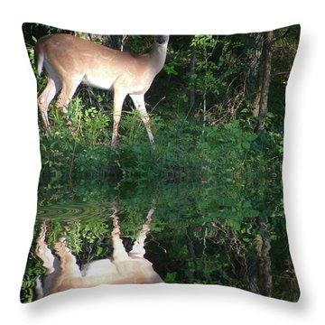 Deer At Dusk Throw Pillow