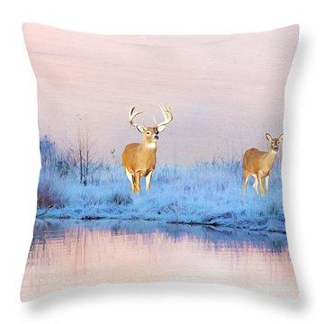 Deer At Winter Pond Throw Pillow