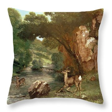 Deer By A River Throw Pillow by Gustave Courbet