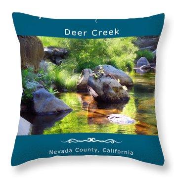 Deer Creek Ferns - White Text Throw Pillow