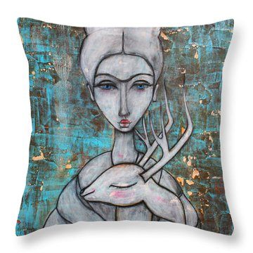 Deer Frida Throw Pillow by Natalie Briney