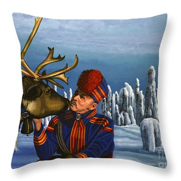 Deer Friends Of Finland Throw Pillow