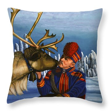 Deer Friends Of Finland Throw Pillow