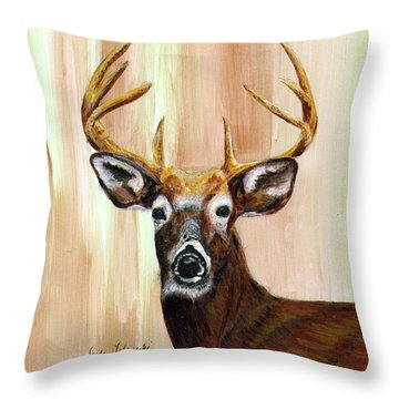 Throw Pillow featuring the painting Deer Head by Judy Filarecki