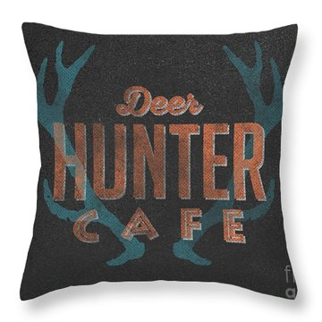 Deer Hunter Cafe Throw Pillow