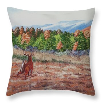 Deer In Fall Throw Pillow by Charlotte Blanchard