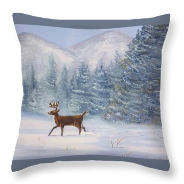 Deer In The Snow Throw Pillow by Denise Fulmer