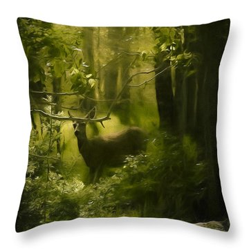 Deer In The Woods - 2 Throw Pillow