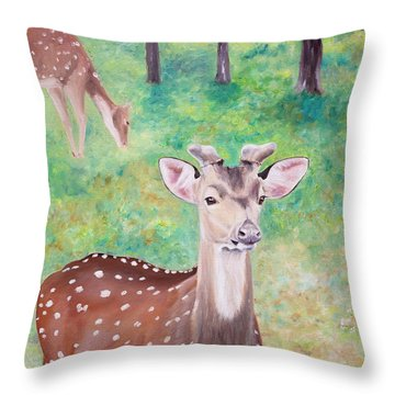 Throw Pillow featuring the painting Deer In Woods by Elizabeth Lock