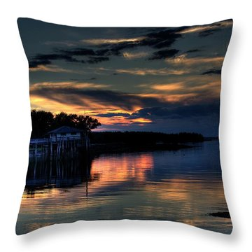 Throw Pillow featuring the photograph Deer Isle Sunset I by Greg DeBeck