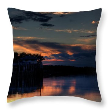 Throw Pillow featuring the photograph Deer Isle Sunset II by Greg DeBeck