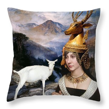 Deer Medicine Woman Throw Pillow