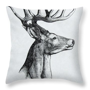 Throw Pillow featuring the drawing Deer by Michael  TMAD Finney