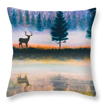 Deer Morning Throw Pillow