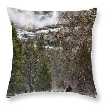Deer Of Winter Throw Pillow