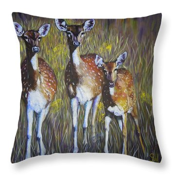 Deer On Guard Throw Pillow