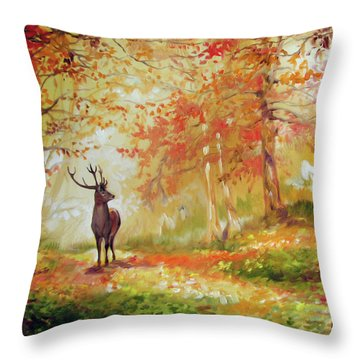 Deer On The Wooden Path Throw Pillow