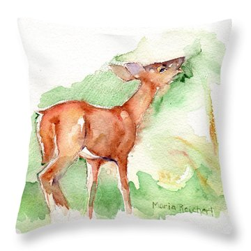 Deer Painting In Watercolor Throw Pillow by Maria's Watercolor