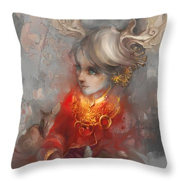 Throw Pillow featuring the digital art Deer Princess by Te Hu
