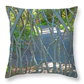 Throw Pillow featuring the photograph Deer Proof Gate by K L Kingston