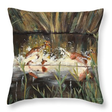 Deer Running Throw Pillow