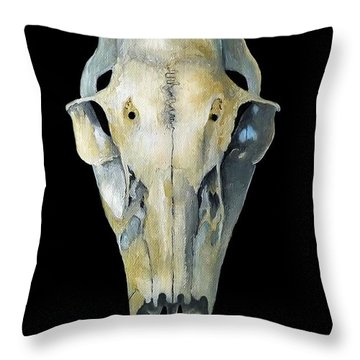 Deer Skull Aura Throw Pillow by Catherine Twomey