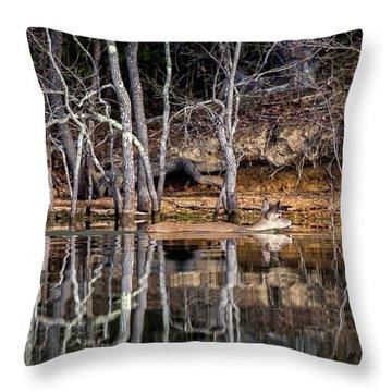 Throw Pillow featuring the photograph Deer Swim by Alan Raasch