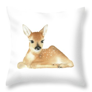 Throw Pillow featuring the painting Deer Watercolor by Taylan Apukovska