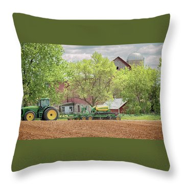 Deere On The Farm Throw Pillow