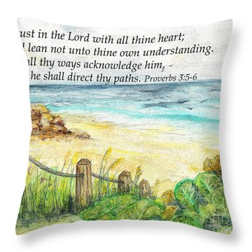 Deerfield Beach Sea Grapes Proverbs 3 Throw Pillow