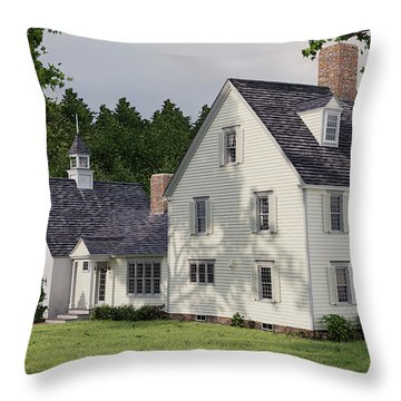 Deerfield Colonial House Throw Pillow