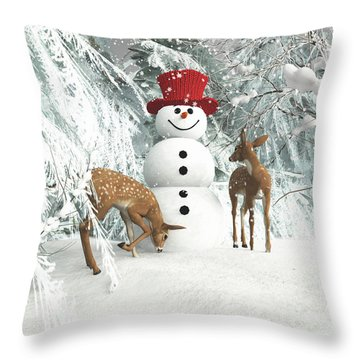 Deers At Chistmas Throw Pillow