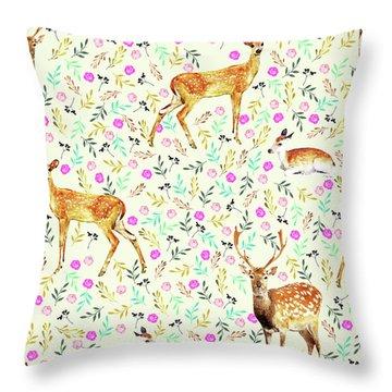 Deers Throw Pillow by Uma Gokhale
