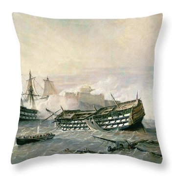 Defence Of The Havana Promontory  Throw Pillow by Rafael Monleon y Torres