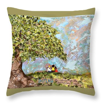 Defend The Fatherless Throw Pillow by Kirsten Reed