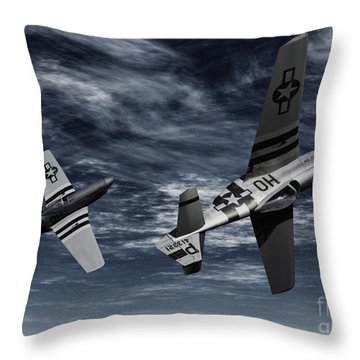 Defensive Split  Throw Pillow by Richard Rizzo