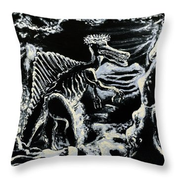 Deinos Sauros    Throw Pillow by Ryan Demaree