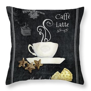 Deja Brew Chalkboard Coffee 2 Caffe Latte Shortbread Chocolate Cookies Throw Pillow by Audrey Jeanne Roberts
