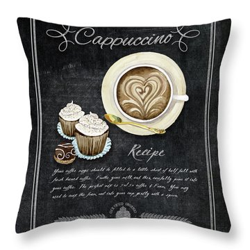 Throw Pillow featuring the painting Deja Brew Chalkboard Coffee 3 Cappuccino Cupcakes Chocolate Recipe  by Audrey Jeanne Roberts