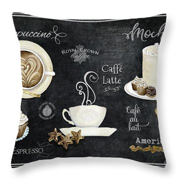 Throw Pillow featuring the painting Deja Brew Chalkboard Coffee Cappuccino Mocha Caffe Latte by Audrey Jeanne Roberts