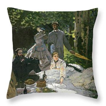 Dejeuner Sur Lherbe Throw Pillow by Claude Monet