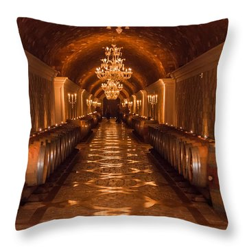 Del Dotto Wine Cellar Throw Pillow by Scott Campbell