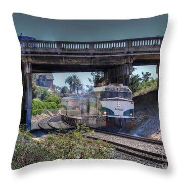 Del Mar Amtrak Throw Pillow