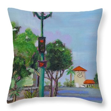 Throw Pillow featuring the painting Del Mar And Ole Vista by Mary Scott
