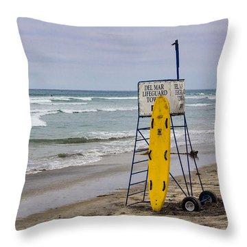 Del Mar Lifeguard Tower Throw Pillow