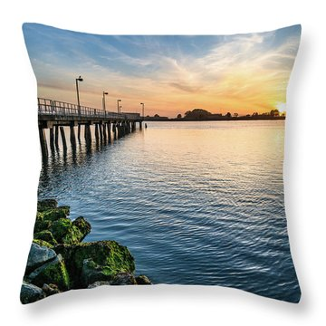 Del Norte Pier And Spring Sunset Throw Pillow by Greg Nyquist