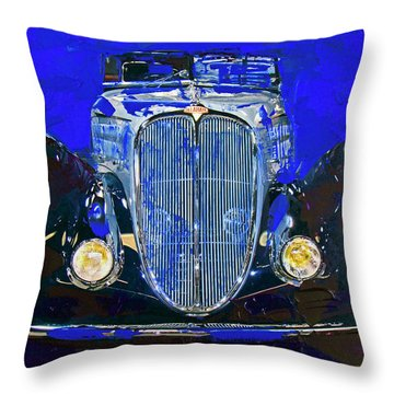 Throw Pillow featuring the painting Delahaye Vintage Car Blue by Walter Fahmy