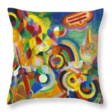 Delaunay: Hommage Bleriot Throw Pillow by Granger