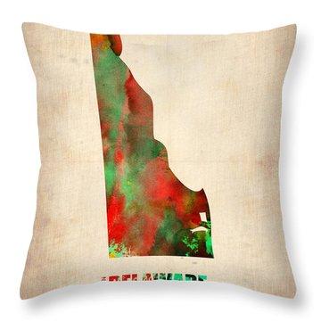 Delaware Watercolor Map Throw Pillow by Naxart Studio