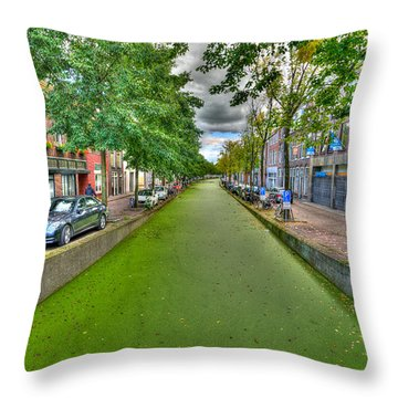 Delft Canals Throw Pillow